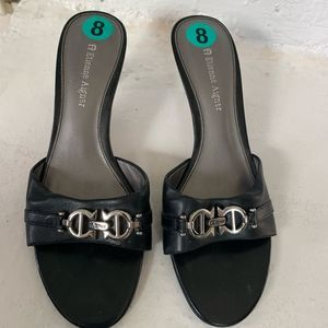 NEW BLACK LEATHER LOGO BUCKLE MULES HEELS
